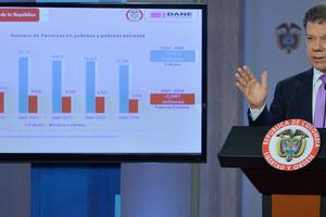 Según Santos, 3,6 millones de colombianos han salido de la pobreza