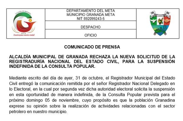 Alcaldía de Granada emite comunicado por Consulta Popular