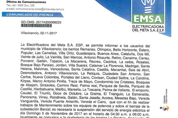 Suspensión de energía en Villavicencio
