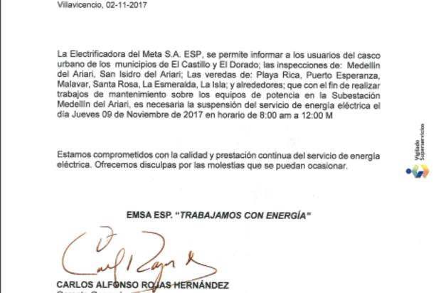Suspensión del servicio de energía en El Castillo y El Dorado