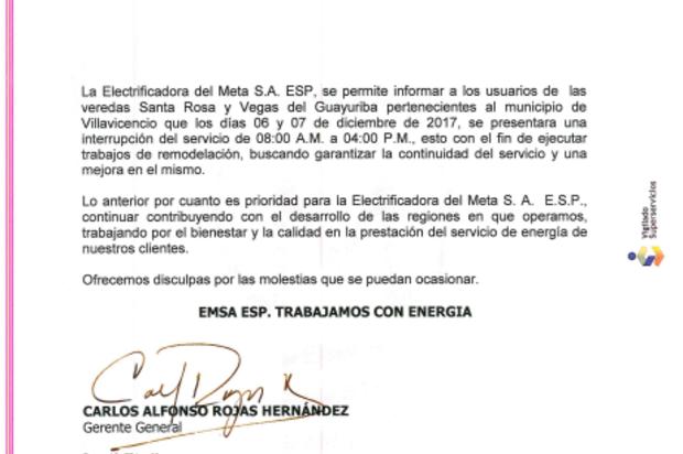 Suspensión del servicio de energía en veredas de Villavicencio