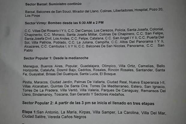Distribución de agua por sectores en Villavicencio hoy 15 de mayo