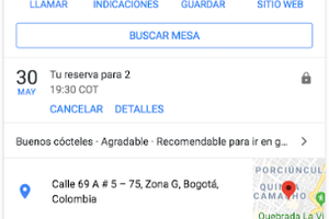 Google ya permite reservar restaurantes colombianos