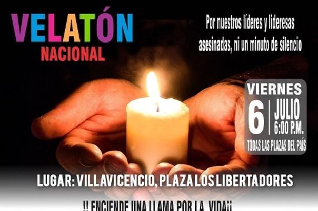 Gran Velatón Nacional por líderes sociales asesinados en Colombia