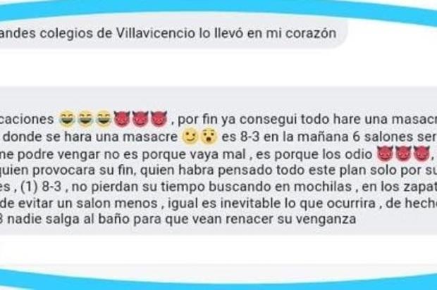 Joven amenazó con realizar supuesta masacre en colegio de Villavicencio