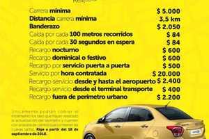Nuevas tarifas de taxis en Villavicencio