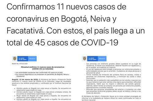 Ya son 45 casos de Coronavirus en Colombia