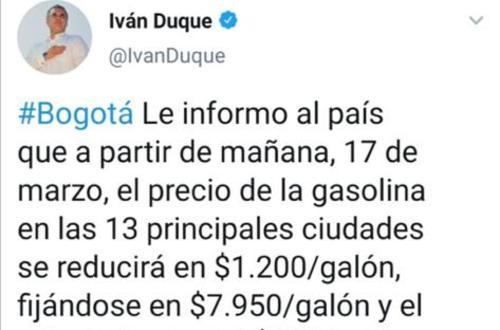 $1.200 rebaja en precios de la gasolina