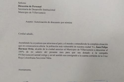 Felipe Harman dona su sueldo a la campaña Villavicencio cuenta contigo