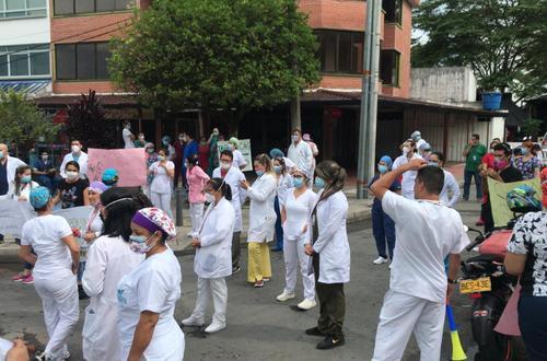 Protestas del personal de la salud en Villavicencio