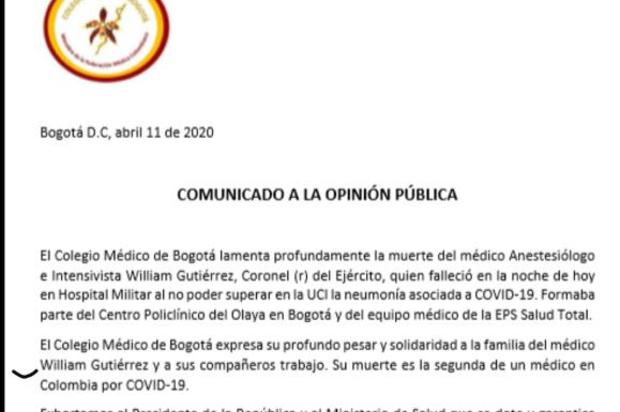 Muere segundo médico en Colombia por contagio con el coronavirus