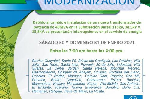 Lea barrios de Villavicencio que sufrirán cortes de energía
